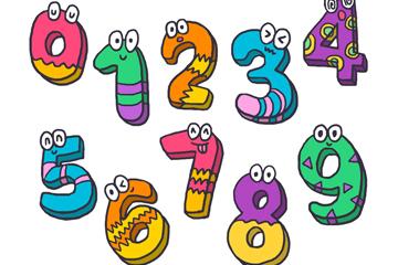 10款彩色花纹数字矢量素材