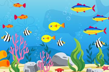 彩色海底鱼类设计矢量素材