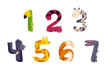 10款创意动物数字矢量素材
