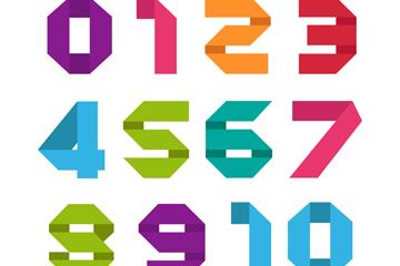 11款彩色折纸数字矢量素材