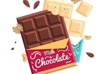2款美味打开包装的巧克力板矢量素材