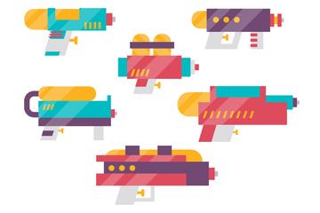 6款彩色水枪玩具侧面矢量素材