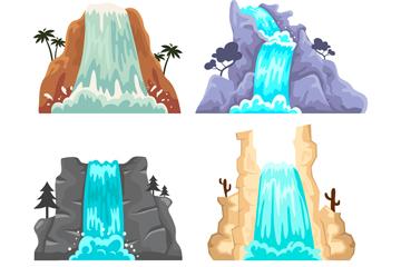 4款创意瀑布设计矢量素材