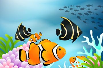 创意海底热带鱼矢量素材