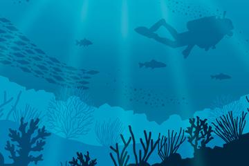 蓝色海底鱼群和潜水人物剪影矢量素材