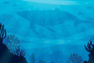 创意海底鱼群和座头鲸剪影矢量素