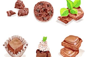 6款彩绘美味巧克力矢量素材