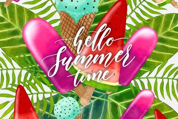 彩色夏季雪糕和棕榈树叶最新网络赌博网站