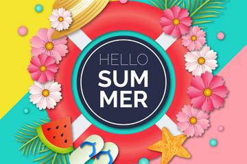 彩色你好夏季花卉和游泳圈矢量�D
