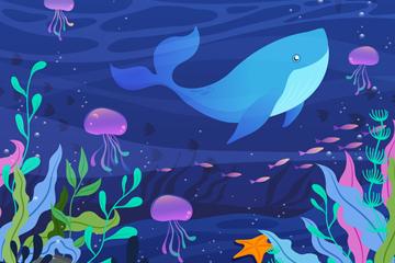 创意海底鱼群鲸鱼和水母矢量素材