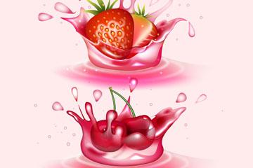 2款创意新鲜水果溅起的果汁矢量图