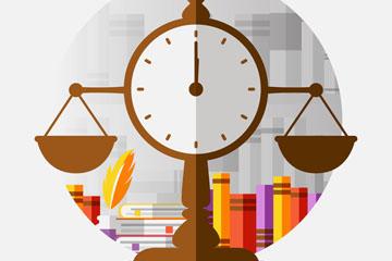扁平化法律��籍和天枰矢量素材