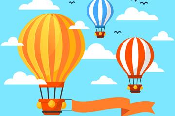 创意天空中的彩色条纹热气球矢量素材