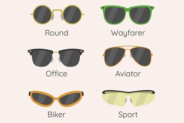 8款时尚墨镜设计矢量素材