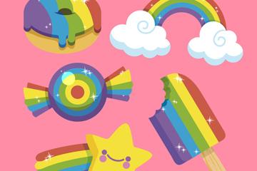 5款彩虹色物品设计矢量图
