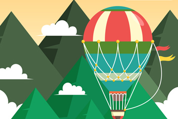 扁平化山间的热气球矢量素材