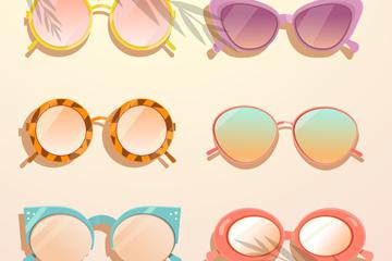 6款时尚女式太阳镜矢量素材