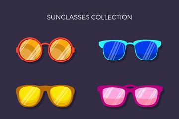 6款彩色太阳镜设计矢量图