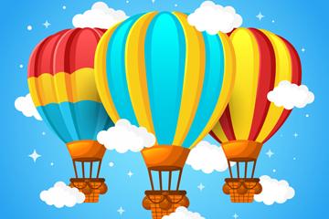 3个彩色条纹云中热气球矢量图