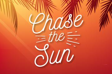 创意追随太阳艺术字矢量图
