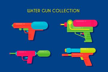 6款彩色玩具水枪矢量素材