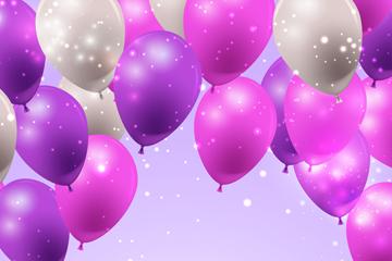 紫色和白色节日气球矢量素材