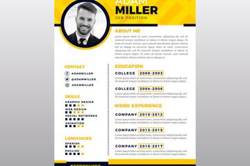 时尚黄色单页简历设计矢量图