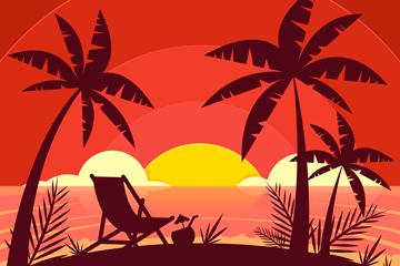 创意度假沙滩夕阳剪影矢量素材