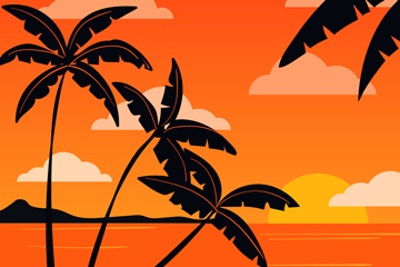 创意夕阳下的椰子树剪影矢量图
