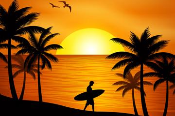 创意夕阳沙滩上拿冲浪板男子剪影矢量图