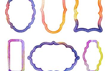 6款水彩绘框架设计矢量素材