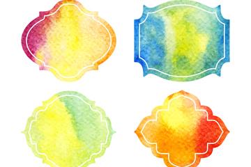 4款水彩绘框架矢量素材