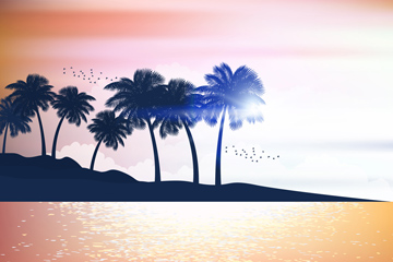 创意大海岛屿椰子树剪影矢量素材