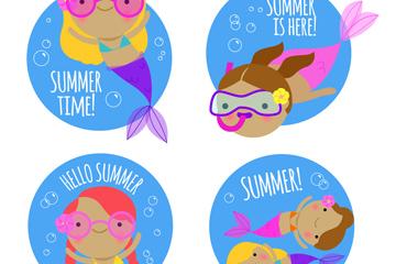 4款彩色夏季潜水美人鱼标签矢量