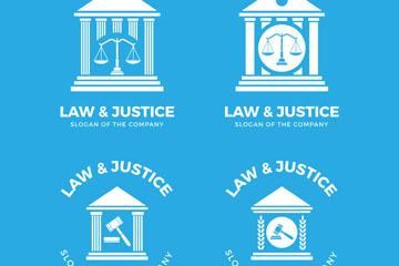 4款白色法律元素标志矢量素材