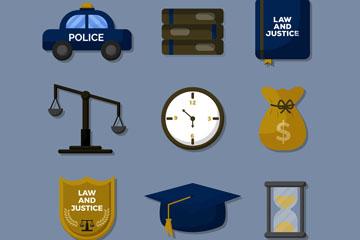 9款精致法律元素图标矢量图