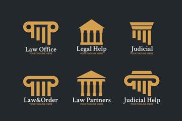 9款金色律师事务所标志矢量图