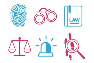 9款蓝色和红色法律元素矢量图