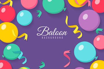 彩色丝带和气球矢量素材