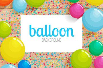创意木板上的彩色纸屑和气球矢量图