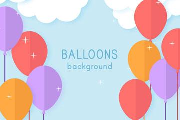 扁平化云朵和彩色气球矢量素材