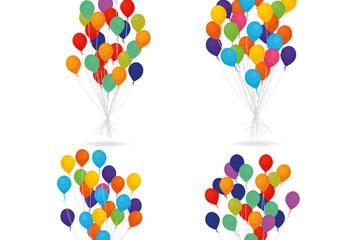 4款彩色气球束设计矢量素材