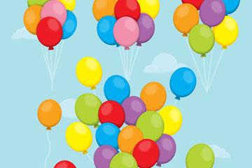 4款彩色升入空中的气球束矢量图
