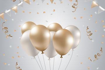 金色和银色气球束矢量素材