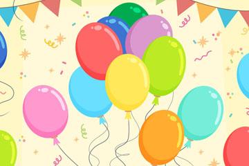 彩色三角拉旗和气球矢量素材