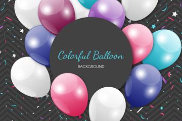 精美彩色纸屑和气球矢量素材