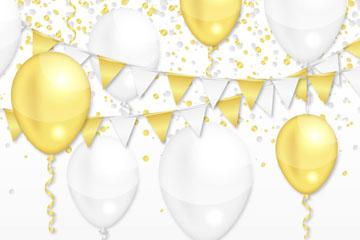 金色和白色节日气球矢量素材