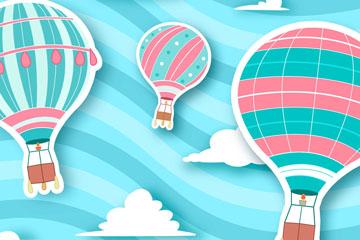彩色条纹热气球剪贴画矢量图