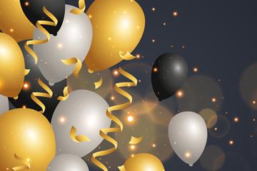 金色黑色和白色节日气球矢量素材