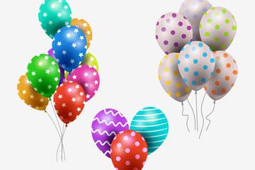3款精美花纹气球束矢量素材